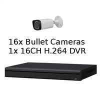 SCE 16-Channel Tribrid 1080P HD DVR System with 16 Bullet Cameras