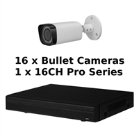 SCE 16-Channel Tribrid 1080P HD Pro Series 1U DVR System with 16 Bullet Cameras