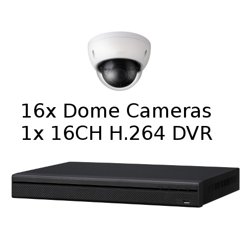 SCE 16-Channel Tribrid 1080P HD DVR System with 16 Dome Cameras