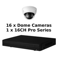 SCE 16-Channel Tribrid 1080P HD Pro Series 1U DVR System with 16 Dome Cameras