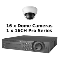 SCE 16-Channel Tribrid 1080P HD Pro Series 2U DVR System with 16 Dome Cameras