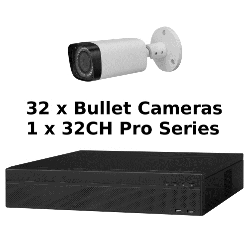 SCE 32-Channel Tribrid 1080P HD Pro Series 2U DVR System with 32 Bullet Cameras