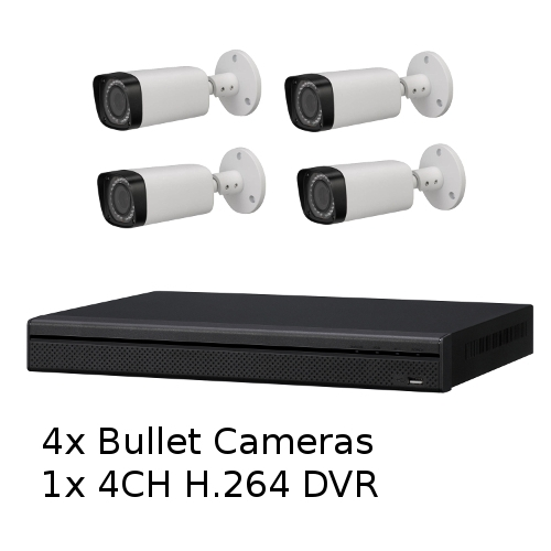 SCE 4-Channel HD 1080P Tribrid DVR System with 4 Bullet Cameras