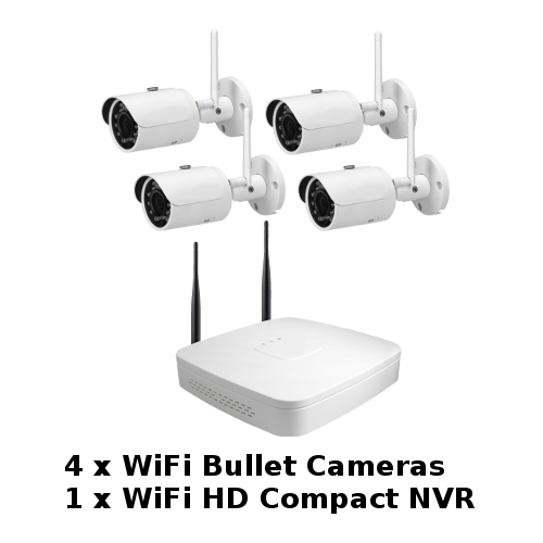 SCE 4-Channel HD 1080P WiFi NVR with 4 WiFi Bullet Cameras