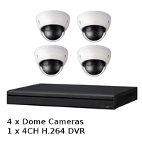 SCE 4-Channel HD 1080P Tribrid DVR System with 4 Dome Cameras