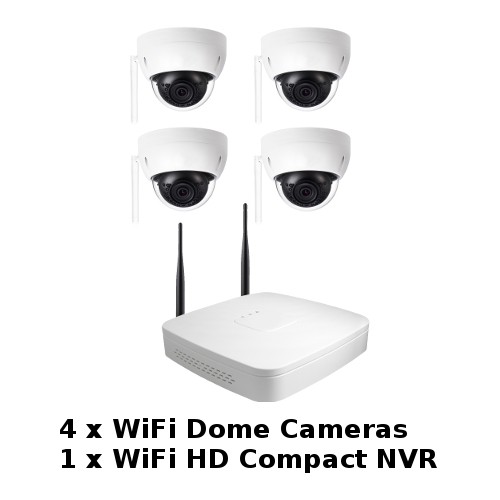 SCE 4-Channel HD 1080P WiFi NVR with 4 WiFi Dome Cameras