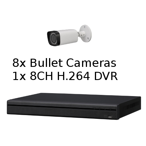 SCE 8-Channel Tribrid 1080P HD DVR System with 8 Bullet Cameras