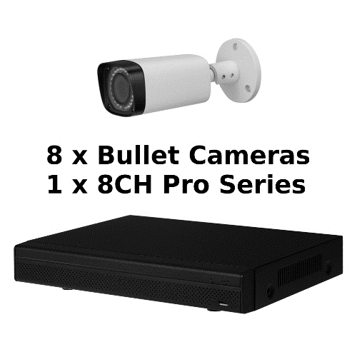 SCE 8-Channel Tribrid 1080P HD Pro Series 1U DVR System with 8 Bullet Cameras