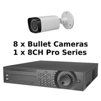 SCE 8-Channel Tribrid 1080P HD Pro Series 2U DVR System with 8 Bullet Cameras