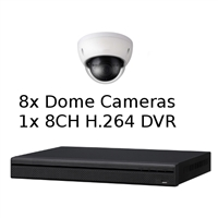 SCE 8-Channel Tribrid 1080P HD DVR System with 8 Dome Cameras