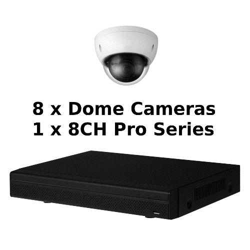 SCE 8-Channel Tribrid 1080P HD Pro Series 1U DVR System with 8 Dome Cameras