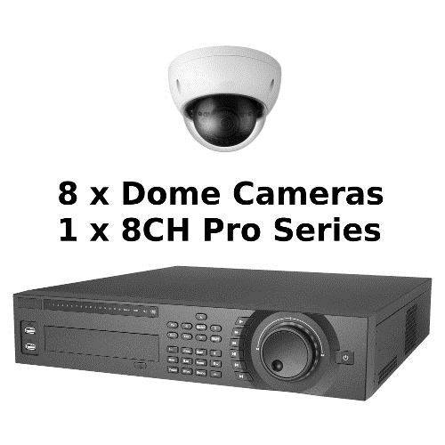 SCE 8-Channel Tribrid 1080P HD Pro Series 2U DVR System with 8 Dome Cameras