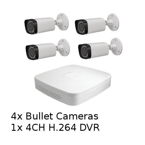 SCE 4-Channel HD 1080P Tribrid Compact DVR with 4 Bullet Cameras