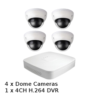 SCE 4-Channel HD 1080P Tribrid Compact DVR with 4 Dome Cameras