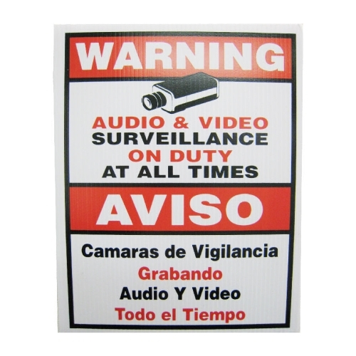 SCE Video Surveillance Sign, English & Spanish In One