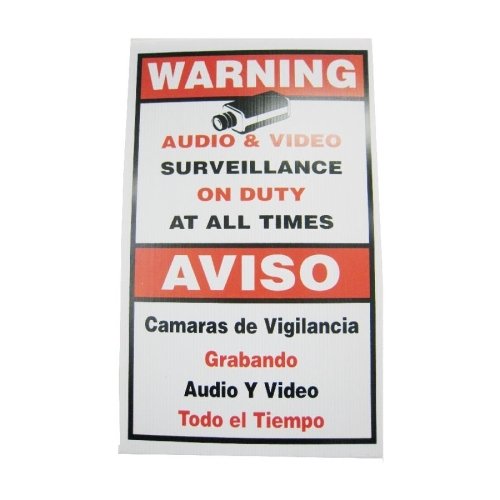 SCE Video Surveillance Sign, English & Spanish In One (Large)